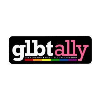 Etiqueta del negro del aliado de GLBT Etiquetas De Remite