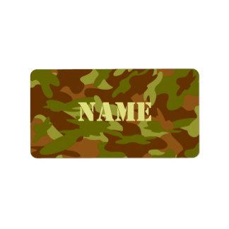 Etiqueta del nombre de Camo del uniforme militar Etiquetas De Dirección
