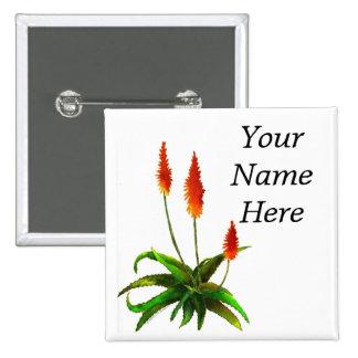 Etiqueta del nombre de la acuarela del áloe pin cuadrada 5 cm