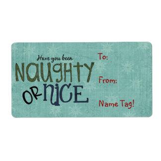 Etiqueta del nombre de la diversión del navidad o etiqueta de envío