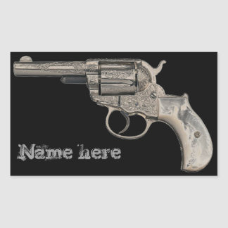 Etiqueta del nombre del arma del vintage o