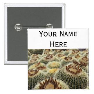 Etiqueta del nombre del botón del perno-detrás del pin cuadrado