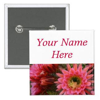 Etiqueta del nombre del perno-detrás de la flor de pin cuadrado