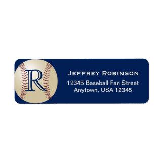 Etiqueta del nombre y dirección del béisbol con el etiqueta de remitente
