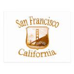 Etiqueta del oro de San Francisco California Postal