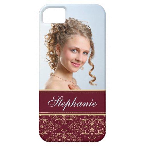 Etiqueta del oro del marrón del damasco de la foto iPhone 5 Case-Mate cárcasas