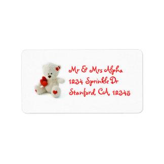 Etiqueta del oso de peluche del el día de San Vale Etiquetas De Dirección