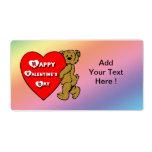 Etiqueta del oso del peluche de la tarjeta del día etiqueta de envío