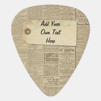 Etiqueta del papel de las noticias del vintage plumilla de guitarra