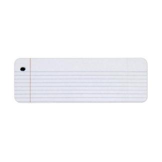 Etiqueta del papel del cuaderno etiqueta de remitente