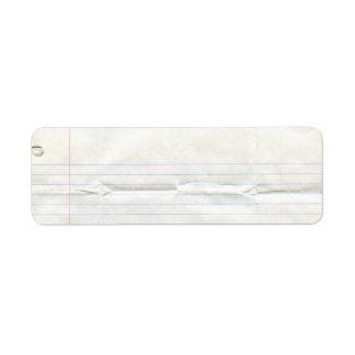 Etiqueta del papel del cuaderno etiqueta de remite