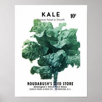 Etiqueta del paquete de la semilla de la col rizad póster