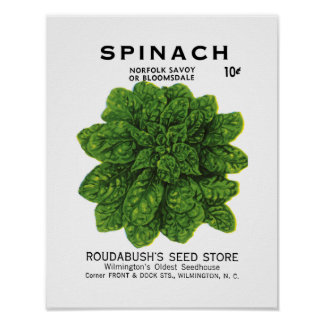 Etiqueta del paquete de la semilla de la espinaca poster