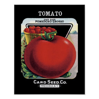 Etiqueta del paquete de la semilla del tomate poster