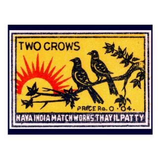 Etiqueta del partido de los cuervos del vintage tarjeta postal