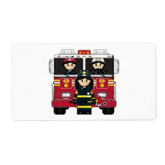 Etiqueta del pegatina del bombero y de bomberos de etiqueta de envío