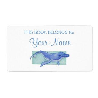 Etiqueta del pegatina del Bookplate de la ballena Etiqueta De Envío