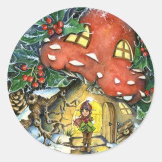Etiqueta del pegatina del Toadstool del invierno