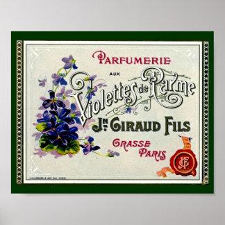 Etiqueta del perfume de Violette del francés Impresiones