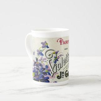 Etiqueta del perfume de Violette del francés Tazas De Porcelana
