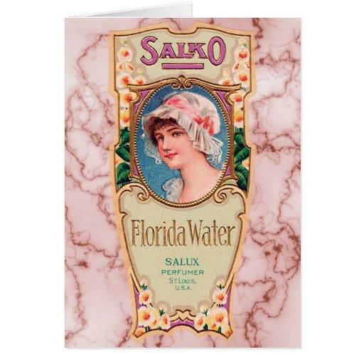 Etiqueta del perfume del agua de Salko la Florida  Felicitacion