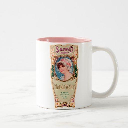 Etiqueta del perfume del agua de Salko la Florida Taza De Café De Dos Colores