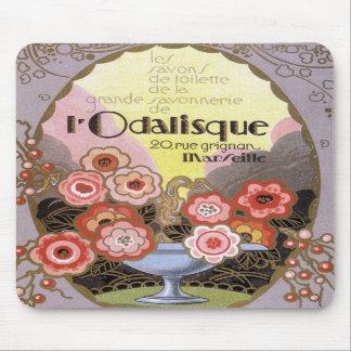 Etiqueta del perfume del Odalisque del l del art d Alfombrillas De Raton