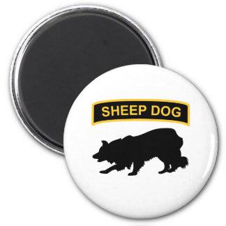 Etiqueta del perro pastor imán redondo 5 cm