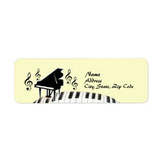 Etiqueta del piano de cola del teclado del G-Clef Etiqueta De Remite