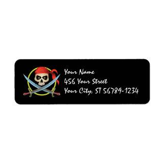 etiqueta del pirata del cráneo 3D Etiqueta De Remite