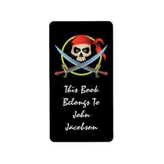etiqueta del pirata del cráneo 3D Etiquetas De Dirección