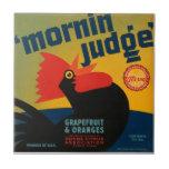 Etiqueta del pomelo del gallo del juez de la mañan tejas  cerámicas