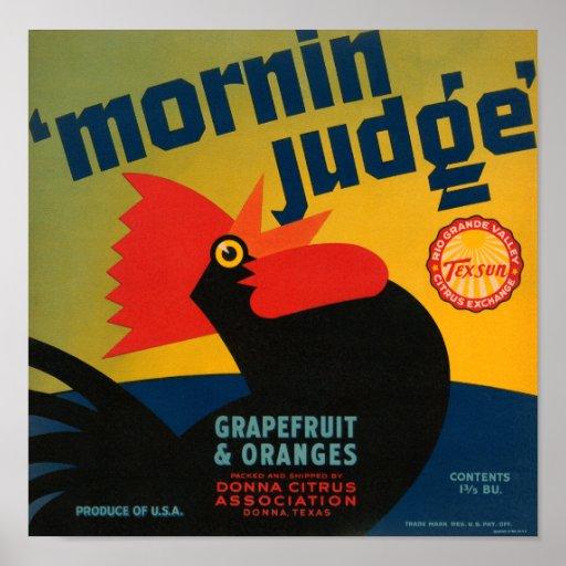 Etiqueta del pomelo del gallo del juez de la mañan posters