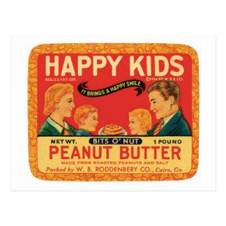 Etiqueta del producto alimenticio de la mantequill tarjetas postales