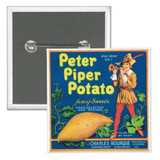 Etiqueta del producto alimenticio de la patata dul pin cuadrada 5 cm