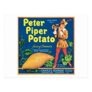 Etiqueta del producto alimenticio de la patata tarjetas postales