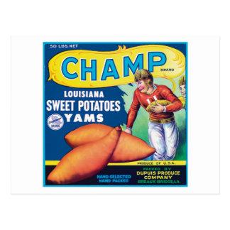 Etiqueta del producto alimenticio de las patatas d postal