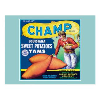 Etiqueta del producto alimenticio de las patatas tarjetas postales