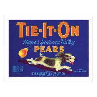 Etiqueta del producto alimenticio de las peras del tarjeta postal