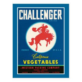 Etiqueta del producto alimenticio de las verduras postal
