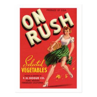 Etiqueta del producto alimenticio de las verduras postales