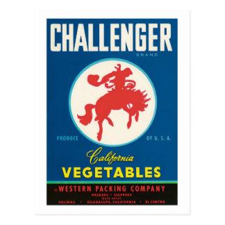 Etiqueta del producto alimenticio de las verduras tarjeta postal