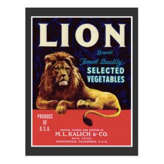 Etiqueta del producto alimenticio de las verduras tarjetas postales