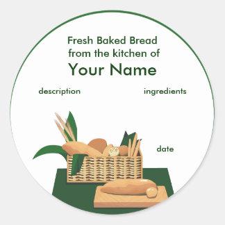 Etiqueta del producto de la cesta del pan