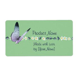 Etiqueta del producto de la mariposa y de las etiquetas de envío