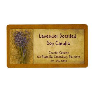 Etiqueta del producto de la vela de la lavanda etiquetas de envío