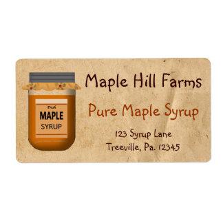 Etiqueta del producto del jarabe de arce etiquetas de envío