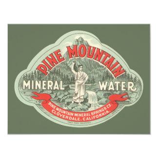 """Etiqueta del producto del vintage, agua mineral de invitación 4.25"""" x 5.5"""""""