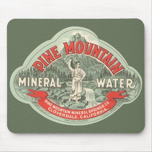 Etiqueta del producto del vintage, agua mineral de mousepads