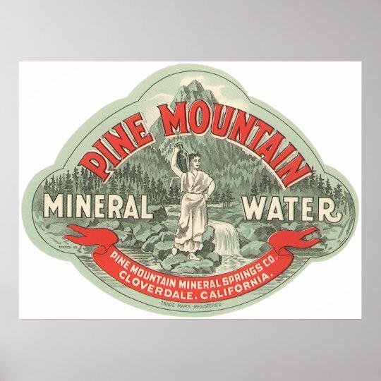 Etiqueta del producto del vintage, agua mineral de póster